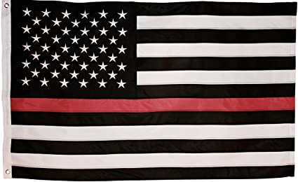 Red Line American Flag >> Thin Red Line Flag 3x5 Foot With Embroidered Stars And Sewn Stripes Black White And Red American Flag Honoring Firefighters And Emts