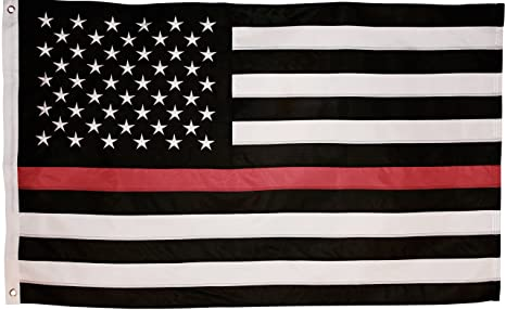 df8467d3d5673 Thin Red Line Flag - 3X5 Foot with Embroidered Stars and Sewn Stripes - Black  White
