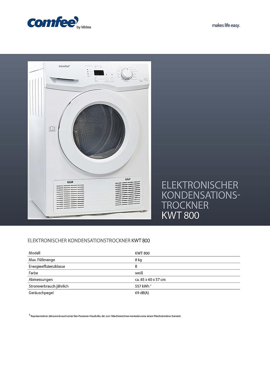 Comfee KWT 800 Kondenstrockner / B / 8 kg / weiÃY