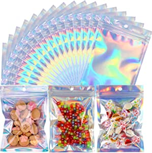 5.5 x 7.9 Inch 100 Pieces Resealable Smell Proof Bags Holographic Ziplock Bags Food Storage Bags for Candy Cookie Jewelry Bags Foil Pouch Bags (Holographic Color)