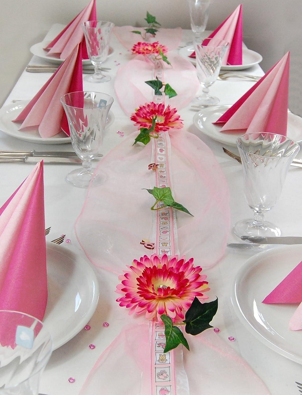 Fibula [Style] ® Komplettset Little Princess Größe M Tischdekoration für Taufe-Geburt Mädchen für ca. 16 - 20 Personen