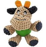 POBO ペット用おもちゃ 犬用おもちゃ 歯ぎ清潔 ストレス解消 丈夫 発声装置搭載 犬玩具 (牛さん)