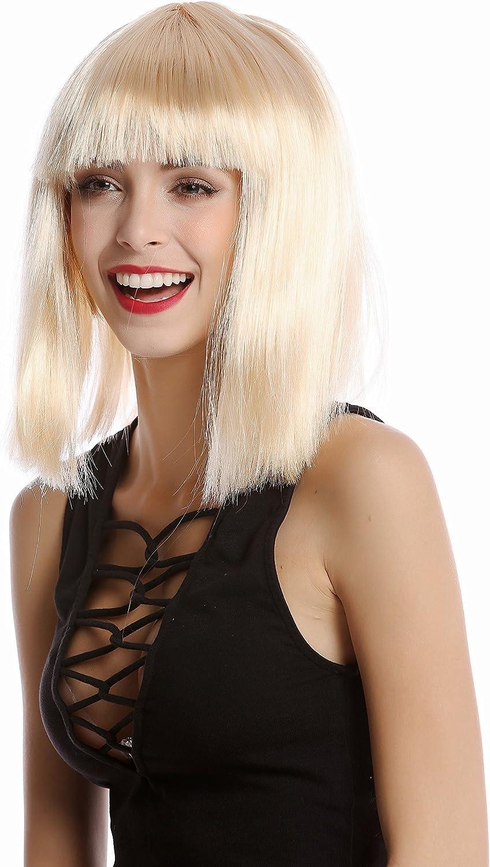 WIG ME UP 91325-ZA02 Parrucca Donna Carnevale Bob Lungo Bob Altezza Spalle Liscia Frangetta Biondo