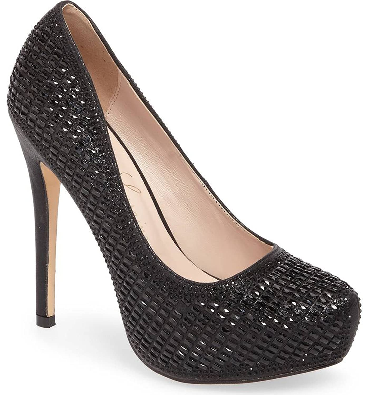 Lauren Lorraine Vanna5 Black High Platform Pump Embellished Shimmering Crystals B079J6WWZG 8.5 B(M) US