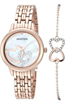 Armitron Women's 75/5663MPRGST Swarovski Crystal Accented Rose Gold-Tone Watch and Bracelet Set