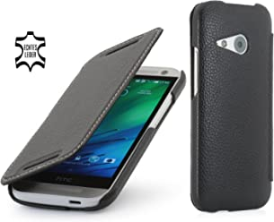 StilGut® UltraSlim Case, custodia in vera pelle versione booklet per HTC One mini 2, nero