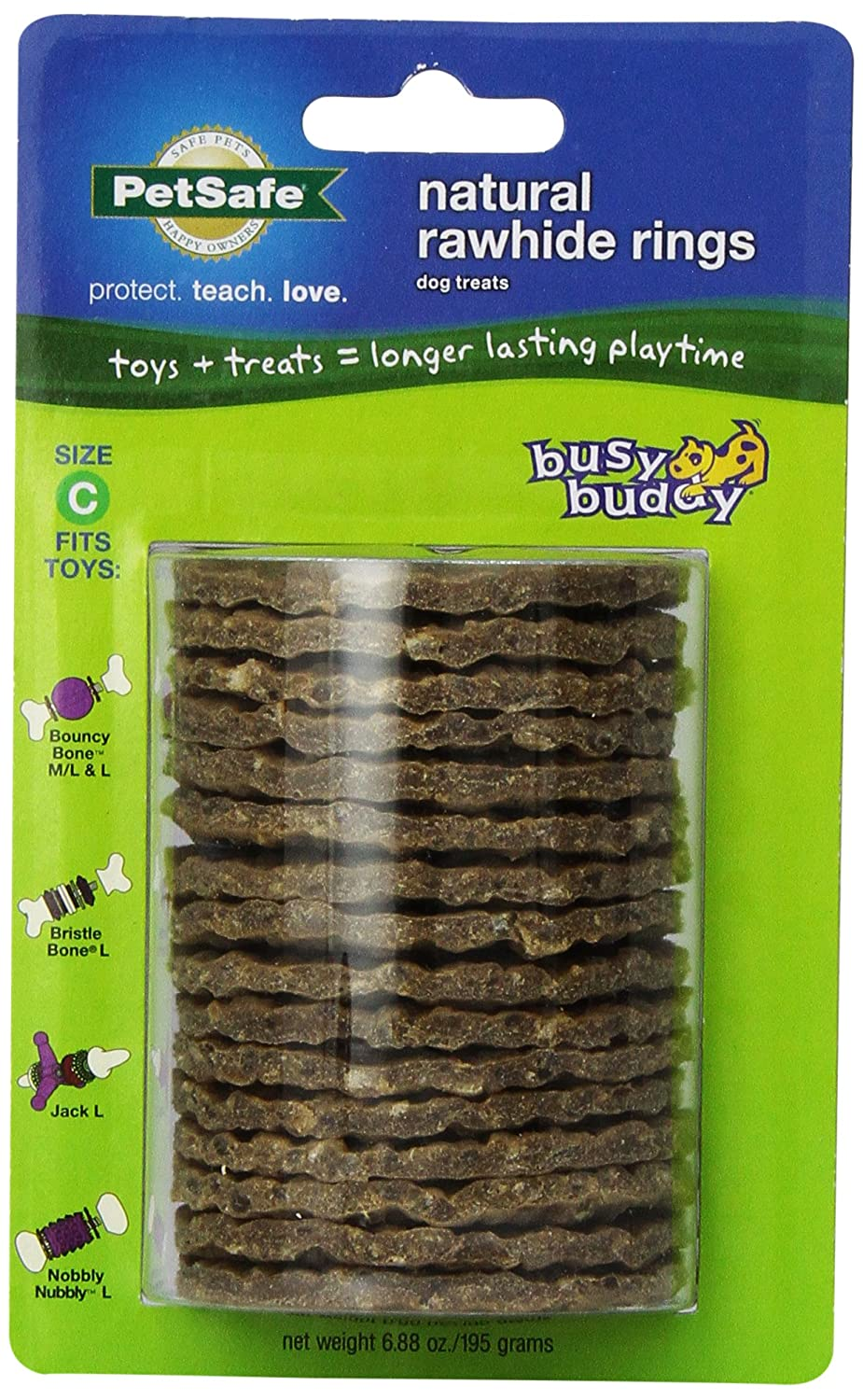 (SIZE C RINGS, Rawhide) PetSafe Busy Buddy Refill Ring Dog Treats for select Busy Buddy Dog Toys, Natural Rawhide