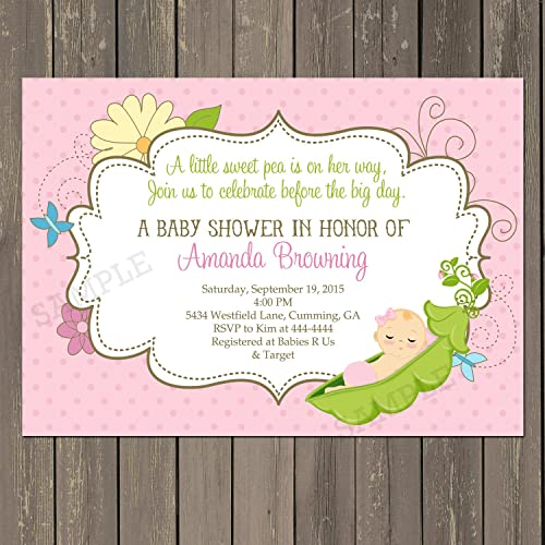 Sweet Pea Baby Shower Invitation, Pink Sweet Pea Shower Invitation, Baby  Girl Shower Invite