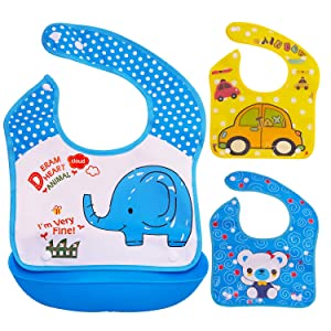Baby Bibs with Soft Plastic Food Catcher - Set of 3 Bibs and 1 Tray - Waterproof, Reusable and Washable - Drool and Feeding Bib for Babies, Toddlers, Infants, Newborns - Set 1