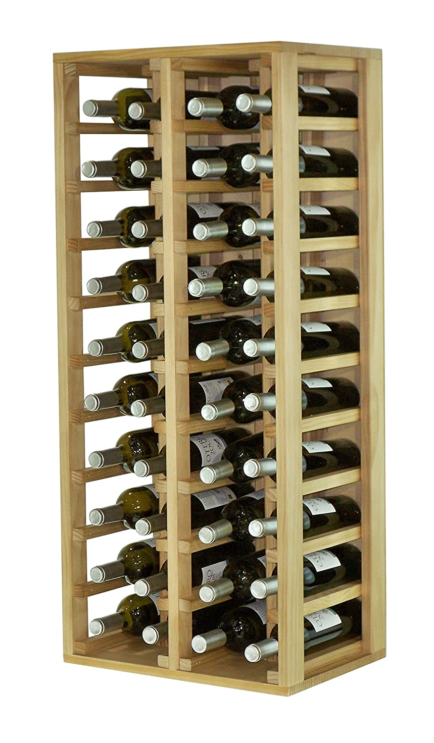 Expovinalia Special Wine Rack with 4 modules, holds 40 bottles, Wood, Rustic design, 44 x 32 x 105 cm ex2034