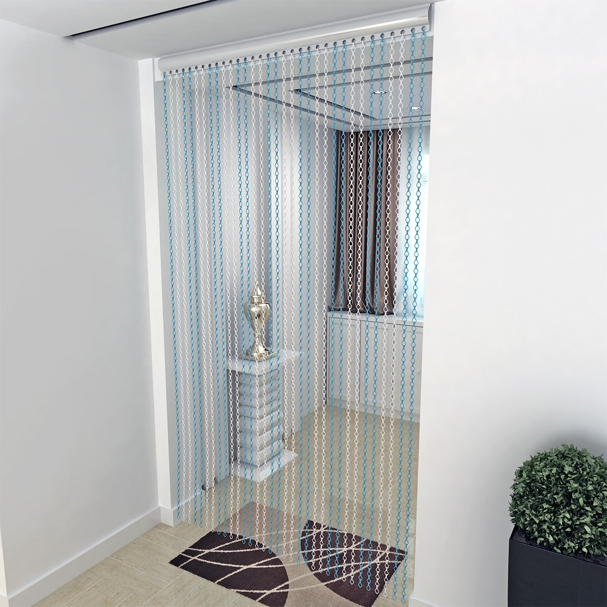 Premium Aluminium Chain Link Fly Curtain, Insect Door Screen Blue+Siver 90cm x 210cm by panana Songtree