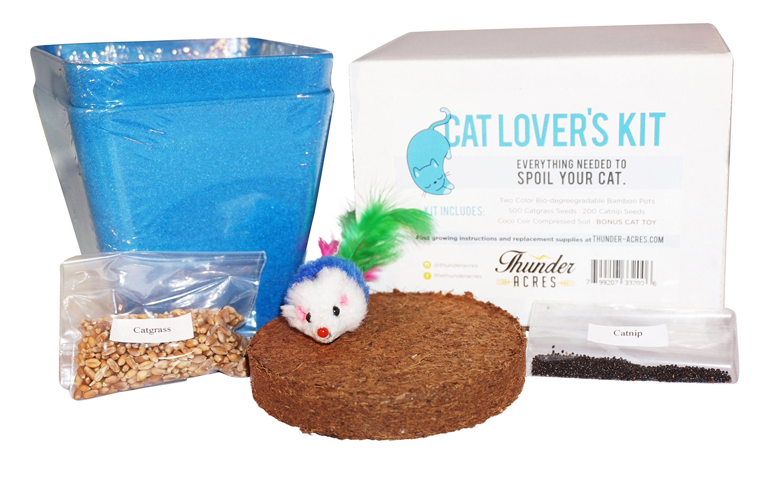Cat Lover's Kit, Catgrass seed, Catnip seed, Coco Coir, with bonus Cat Toy (Blue)