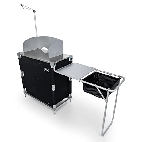 Great Camco 51097 Deluxe Camping Kitchen/Grill Table With Integrated Lantern  Holder, Stainless Steel Top