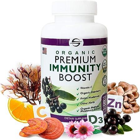 Organic Premium Immunity Boost | Vitamin C 500mg, Zinc 11mg, Vitamin D3, Elderberry, Echinacea, Mushroom Supplement | Reishi, Maitake, Lions Mane | Immune Support Supplements for Adults - 90 Capsules