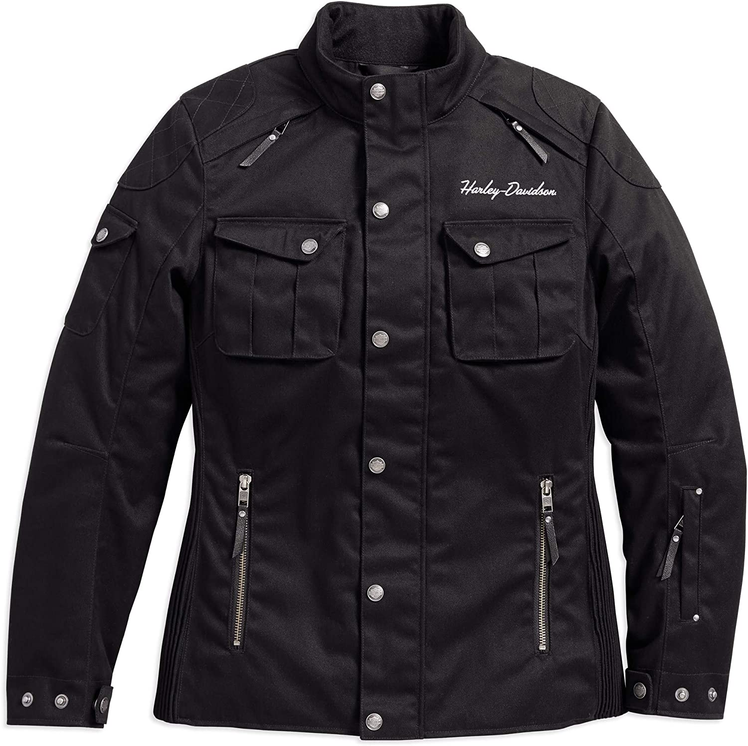 Damen Chippewa Falls Stretch Riding Jacke Schwarz | Harley