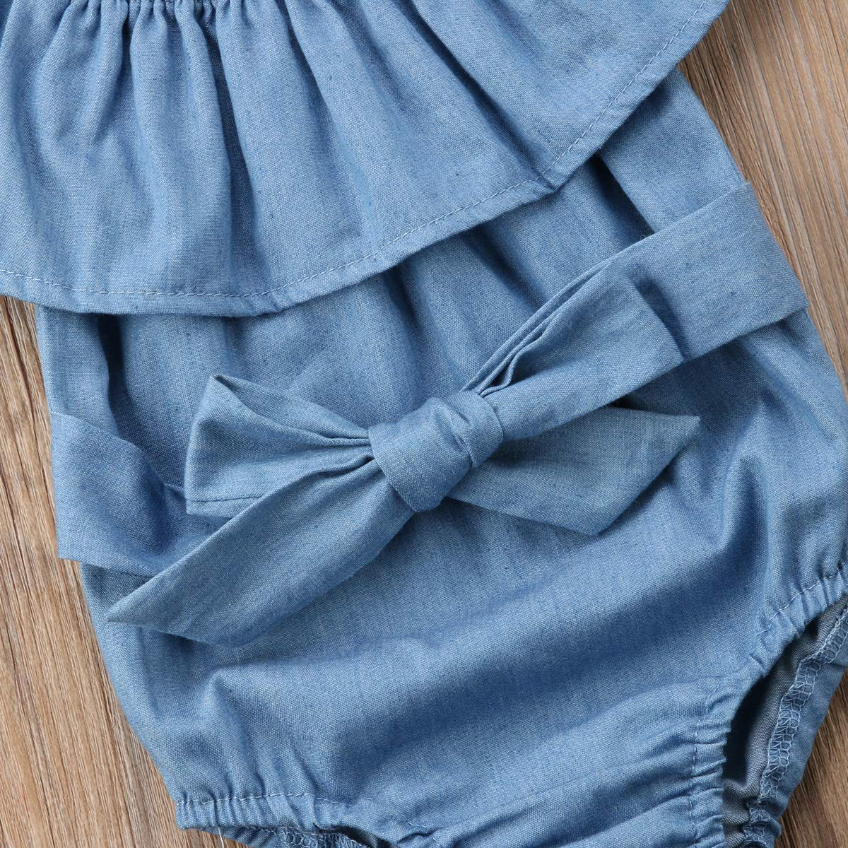 Newborn Kids Baby Girls Front Bowknot Bodysuit Romper Jumpsuit Outfits Set 0-24M