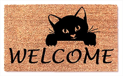 Cute Cat Peek Doormat – Entrance Coir Outdoor Inside Non Slip Rubber Backing Rug – Housewarming Gift Welcome Home Door Mat
