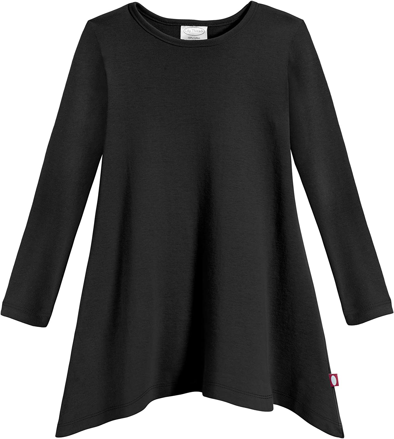 City Threads Sharkbite Girls Long Sleeve Tshirt Dress - Modern Stylish Tunic Top, 100% Natural Cotton Made in USA