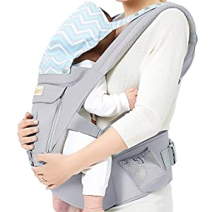 Baby Wrap Carrier with Hip Seat, Windproof Cap, Bite Towel as Well as 6 and 1 Convertible Backpack, Cotton Sling for Infants, Babies and Toddlers - Grey