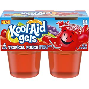 Jell-O Kool-Aid Gels Tropical Punch Ready-to-Eat Gelatin Snack (24 Cups, 6 Packs of 4)