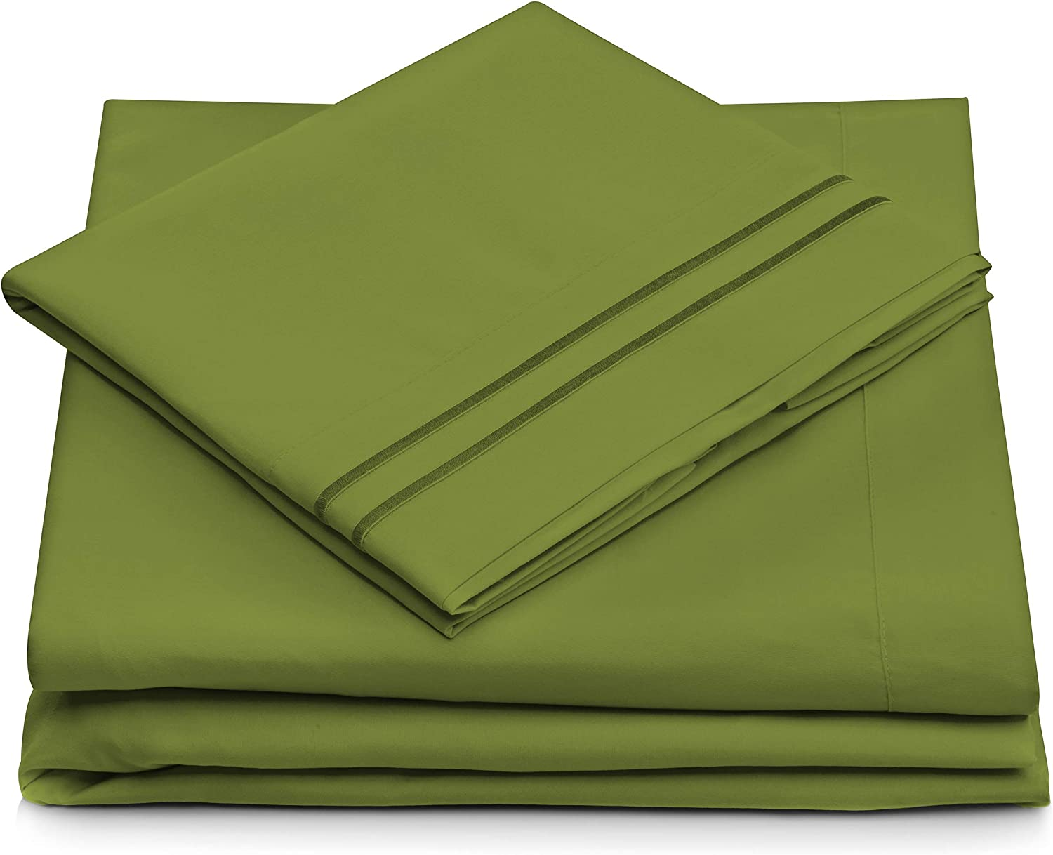 Cosy House Collection Twin Size Bed Sheets - Olive Green Bedding Set - Deep Pocket - Extra Soft Luxury Hotel Sheets - Hypoallergenic - Cool & Breathable - Wrinkle, Stain, Fade Resistant - 3 Piece
