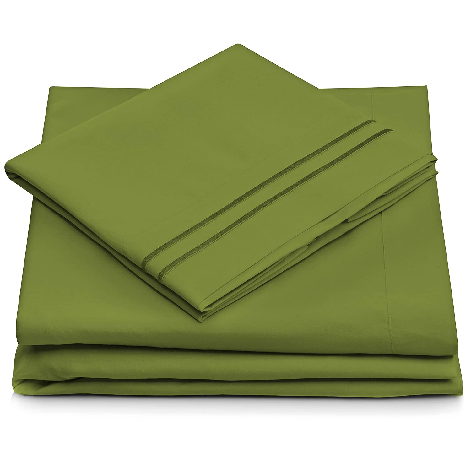 King Size Bed Sheets - Olive Green Luxury Sheet Set - Deep Pocket - Super Soft Hotel Bedding - Cool & Wrinkle Free - 1 Fitted, 1 Flat, 2 Pillow Cases - Dark Green King Sheets - 4 Piece