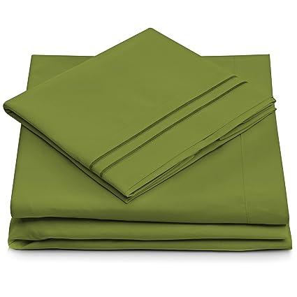 Twin Size Bed Sheets   Olive Green Luxury Sheet Set   Deep Pocket   Super  Soft
