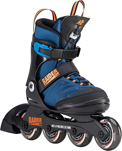 K2 Skate Youth Raider Pro Inline Skates, Blue Orange, 11-2