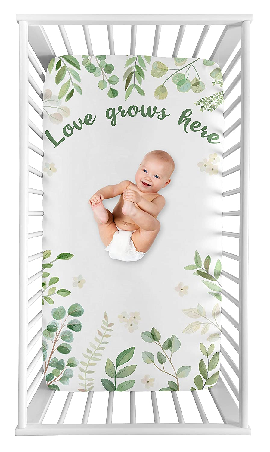 Sweet Jojo Designs Floral Leaf Girl Fitted Crib Sheet Baby or Toddler Bed Nursery Photo Op - Green and White Boho Watercolor Botanical Woodland Tropical Garden Love Grows Here