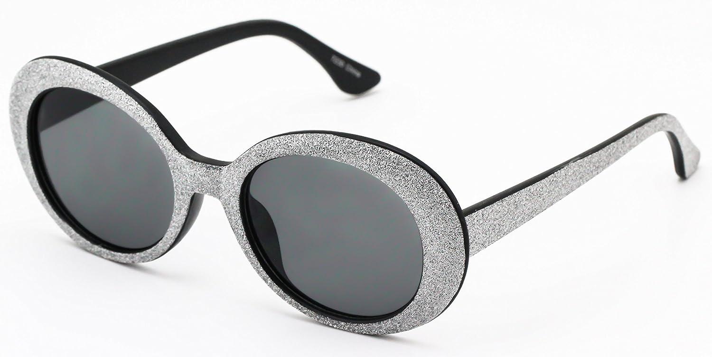 8e97c67af2 Amazon.com  Clout Goggles Oval Mod Retro Thick Frame Rapper Hypebeast Eyewear  Supreme Glasses Cool Sunglasses (Black Glitter