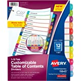 Avery Customizable Table of Contents Dividers , 12-Tab Set (11843)