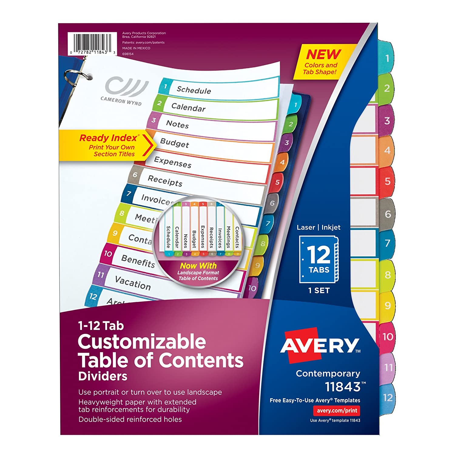 Avery Customizable Table of Contents Dividers, 12-Tab Set (11843) Avery Products Corporation