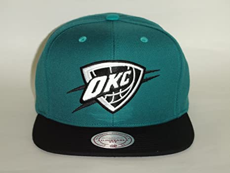 sports shoes 1e61b 55bbb Image Unavailable. Image not available for. Color  Mitchell   Ness NBA  Oklahoma City Thunder 2Tone Turquoise Black Snapback ...