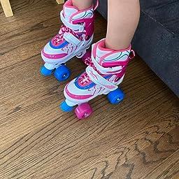 Amazon Com Hikole Roller Skates For Kids Adjustable Size Pvc Wheel Triple Lock Mesh Breathable Roller Skates For Beginners Children Boys And Girls Sports Outdoors