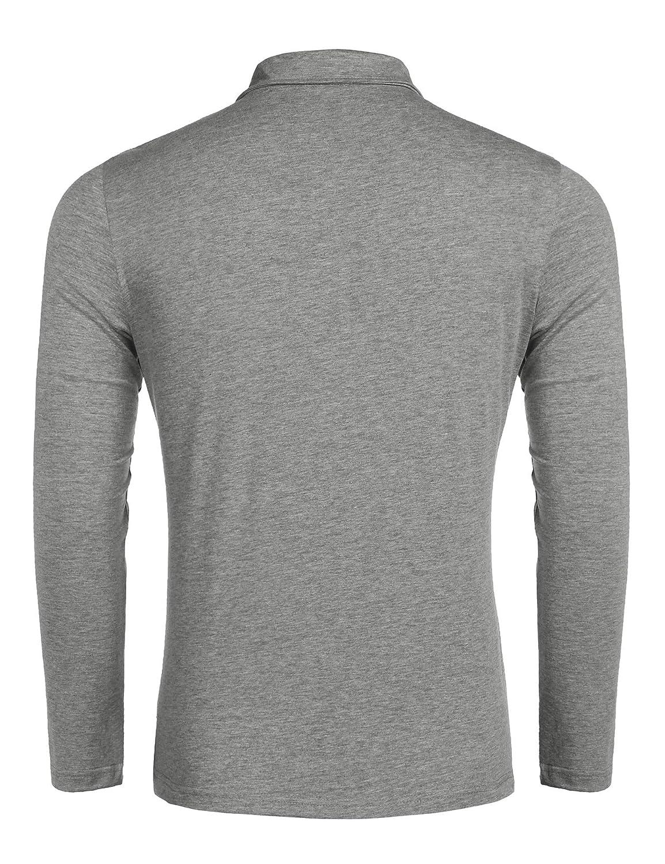 Herren Poloshirt Langarm Polohemd Polo Shirts mit Streifen Polokragen(Grau—Large