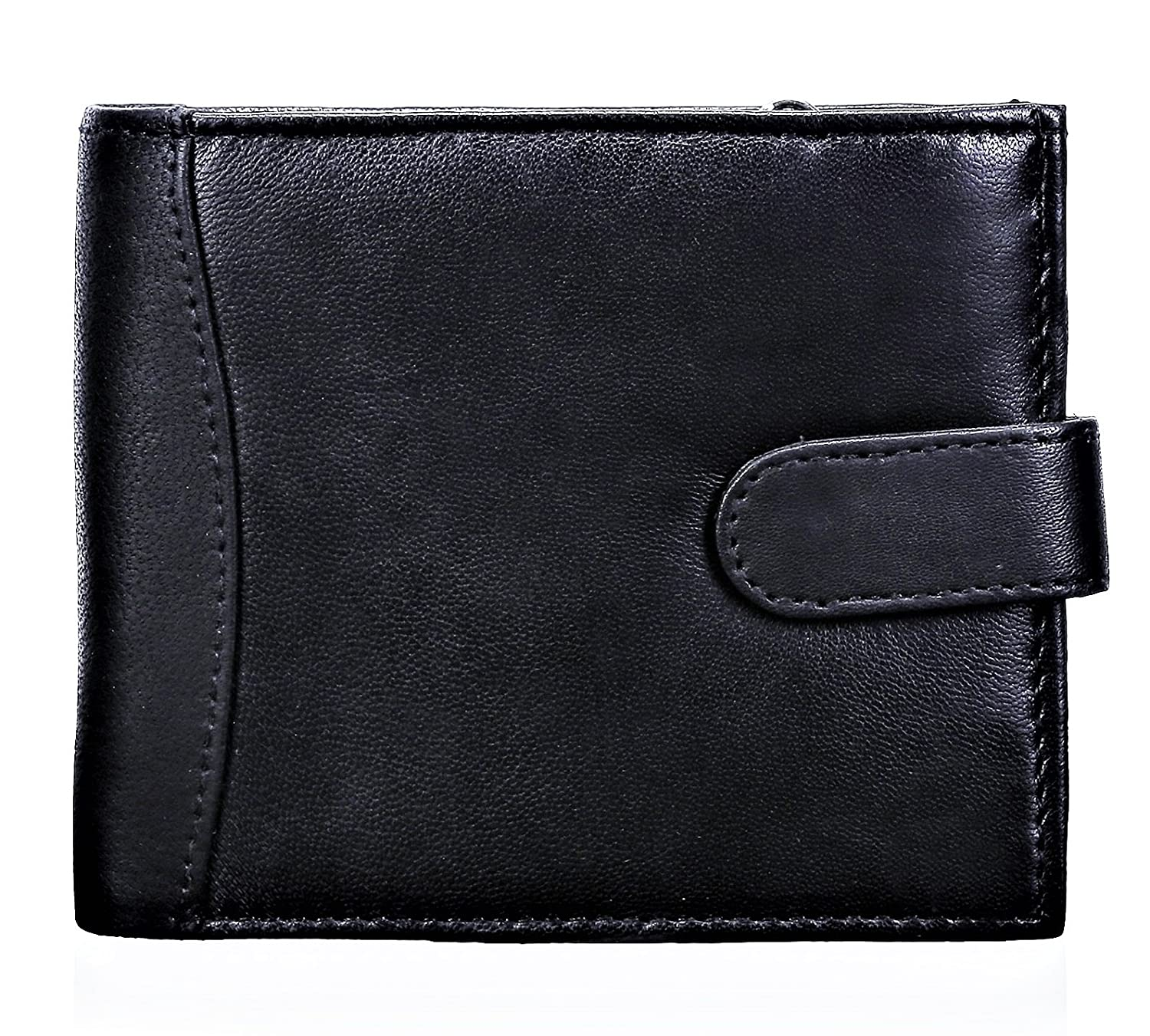 ODS:UKⓇ MENS HIGH QUALITY LUXURY SOFT LEATHER TRI FOLD WALLET CREDIT CARD SLOTS, ID WINDOW AND COIN POCKET (BLACK)