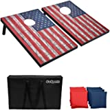 GoSports Classic Cornhole Set - Includes 8 Bean Bags, Travel Case and Game Rules (Choose between Classic, American Flag, and