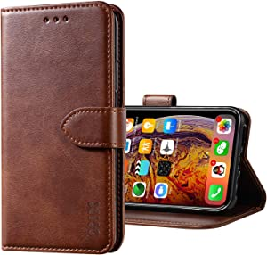 XIX iPhone Xs Max Case Premium Genuine Leather Flip Folio Cover with Kickstand and Wallet Credit Slots for Apple iPhone Xs Max (Brown,iPhone Xs Max)