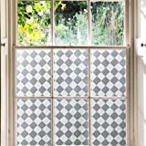 Kromapolis Glass Window Film, Frosted Lattice Privacy Film,Non Adhesive Static Cling Door Window Covering,Decorative Window S
