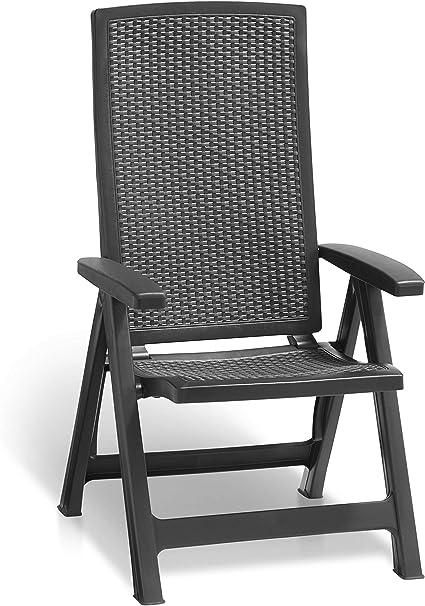 Jardin fauteuil Montréal pliable plastique Graphite