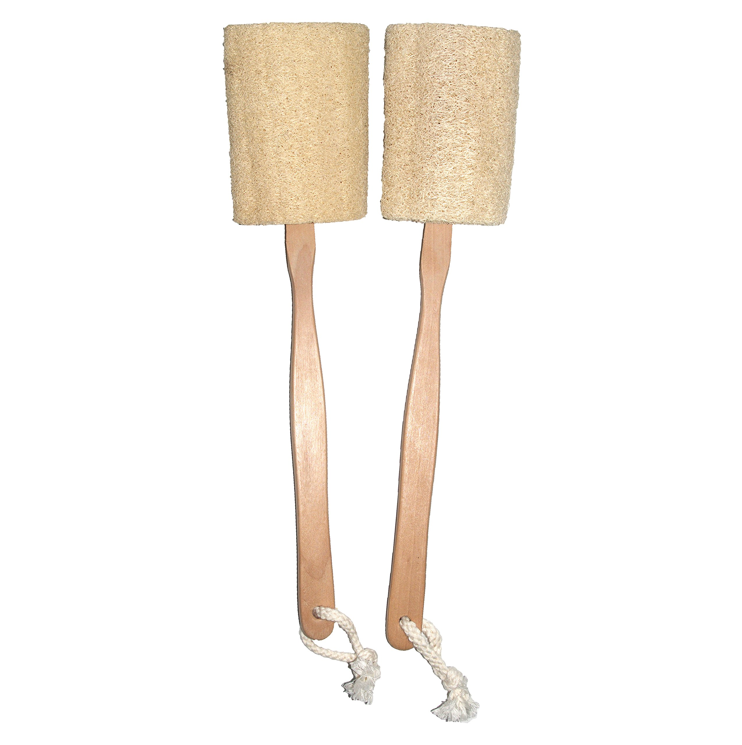 Natural Exfoliating Loofah Luffa Loofa Back Sponge Scrubber Brush with Long Wooden Handle Stick Holder Body Shower Bath Spa Pack of 2