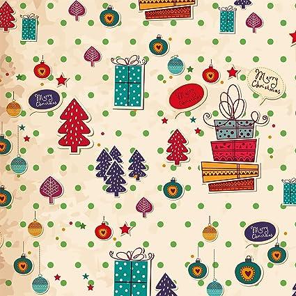 Carta da regalo - 3 fogli carta da regalo Natale rétro nostalgico