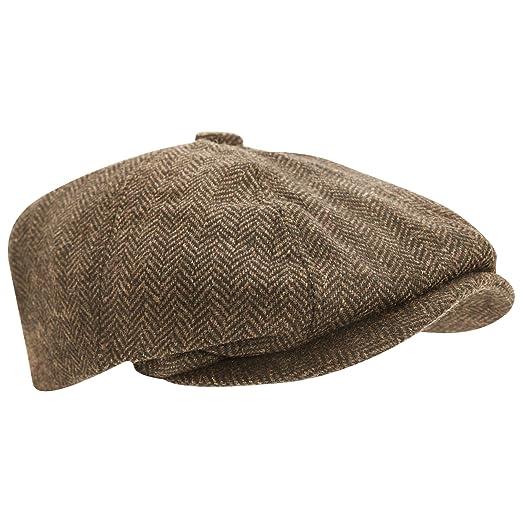 36646cf3c61 Universal Textiles Mens Wool Blend Herringbone 8 Panel Newsboy Cap (22.44in)  (Light