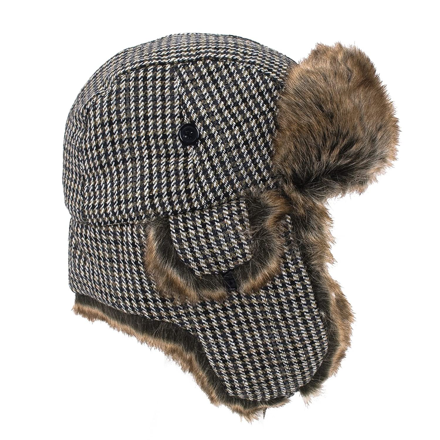 Russian Trapper Aviator Hat Checked Herringbone Tweed Prince of Wales Patterns Hat To Socks