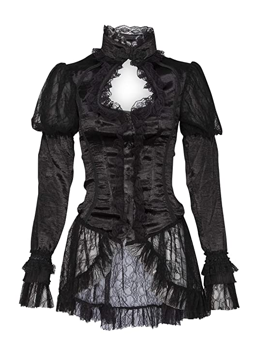 Steampunk Jacket | Steampunk Coat, Overcoat, Cape Womens Gothic Black Lace High Neck Peep Hole Bellsleeve Top Blouse $49.90 AT vintagedancer.com