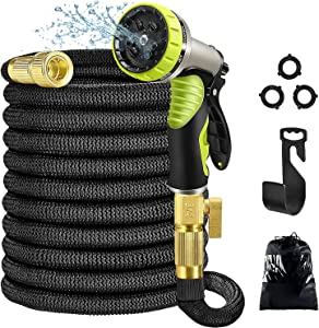 Aottom Garden Hose Flexible , lightweight Water Hose with 9 Function High Pressure Nozzle, Durable Latex Core Solid Brass Fittings (100ft)