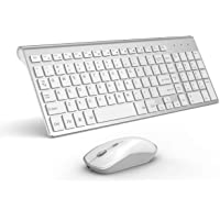 Wireless Keyboard and Mouse,Rechargeable Keyboard Mouse,Ergonomic Sleek Thin 5 Adjustable DPI by JOYACCESS (QWERTY UK Layout), Silver and White
