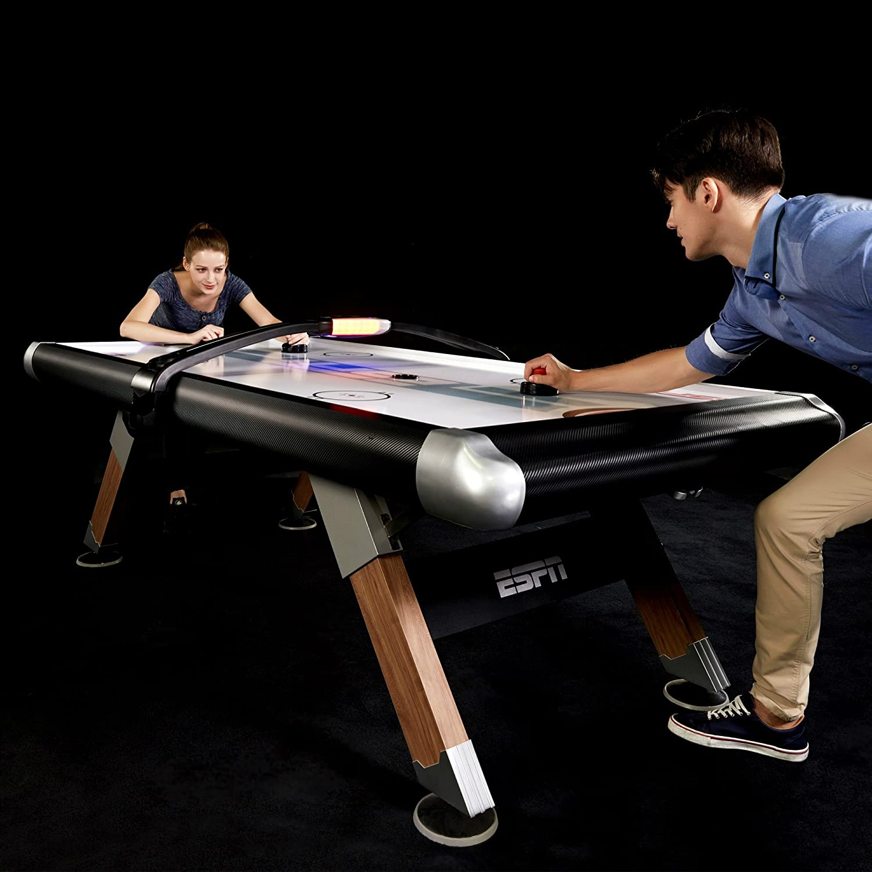 ESPN Mesa de Hockey de Aire con Marcador electrónico y Cubierta de Mesa, Juego Familiar de Interior de 8 pies: Amazon.es: Juguetes y juegos