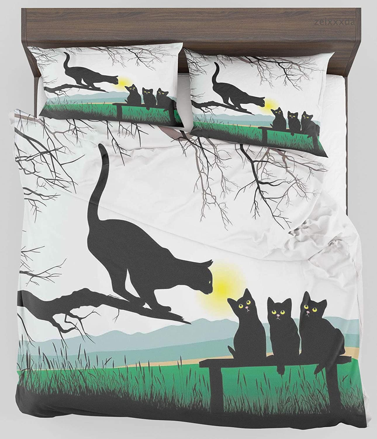 ZELXXXDA Decor Bedding Set Cat Mother Cat on Tree Branch and Baby Kittens in Park Best Friends I Love My Kitty Graphic Multi Full/Queen Size Duvet Cover with 2 Matching Pillow sham