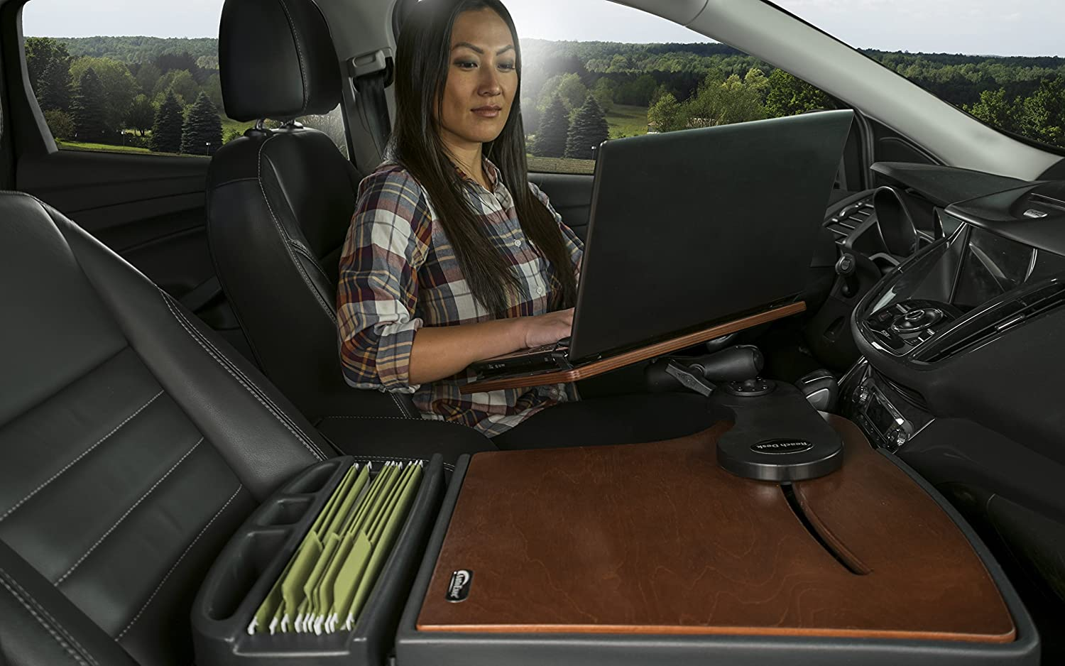 1 Pack AUE10039 Mahogany Finish with 21 Long Extended Arm AutoExec Reach Desk MAH-01 FS Extreme Front Seat Car Desk